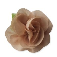 6cm Rose Leaf LIGHT COFFEE Fabric Flower Applique